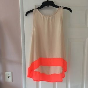 Cream and neon colored tank top